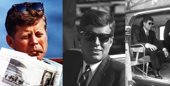 Kennedy found a pair of versatile sunglasses that worked for him both at work and at play. Of course, when visiting a military institution, he opts for a pair of aviators because when in Rome...