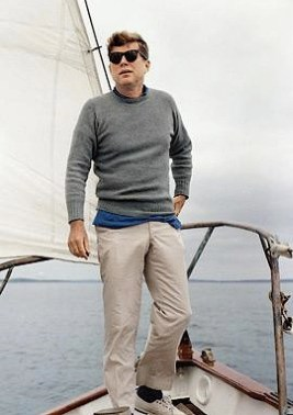 For true Kennedy style, stand on the bow of a grand yacht in the waters off of New England.