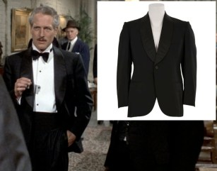 Newman wearing his dinner jacket and a photo of it featured on The Golden Closet forty years later.