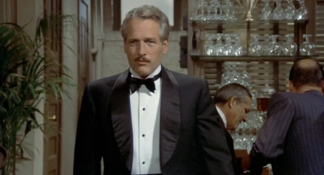 The lapels on Newman's tux add an extra measure of class, especially when Tony Orlando wannabes were popularizing the massive-contrast-color-notch-lapel dinner jacket at the time.