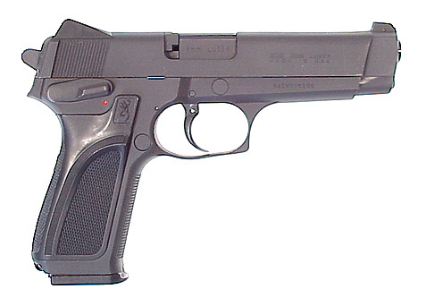 The Browning BDM, Alec Trevelyan's pistol of choice that is briefly handled by Bond.