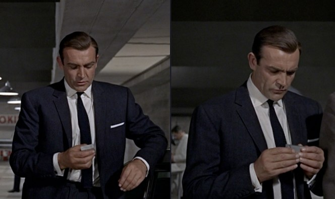 Connery is fascinated by the GPS tracker that Q gives him.