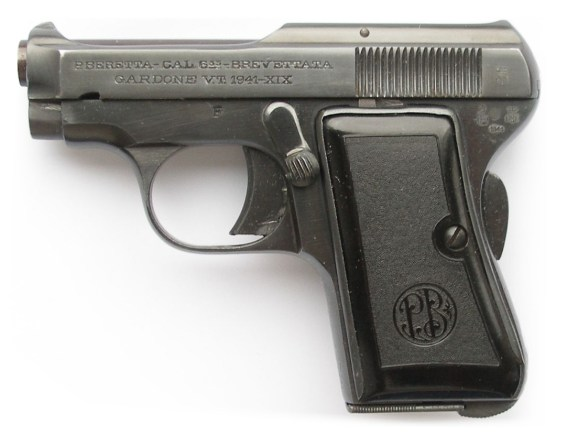 "An unaltered Beretta 418. Bond carried a model with the grip panels removed (""skeleton grips"") and a sawn foresight."
