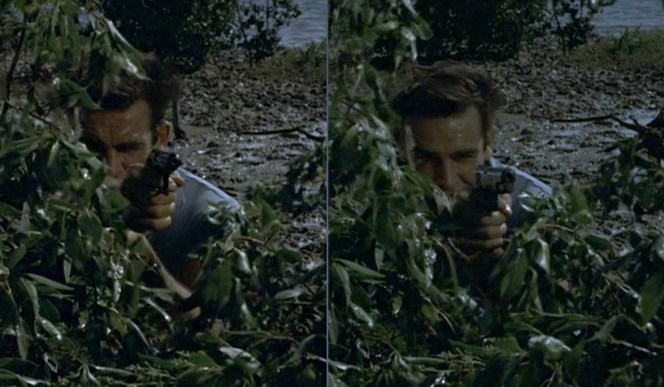 Bond takes aim with his Walther PP and... BANG! It magically transforms into a 1911A1 while firing!
