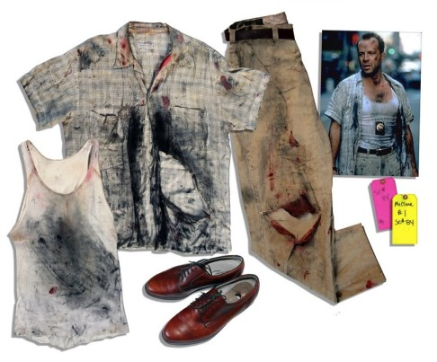 McClane's clothing, as auctioned a year ago. Note that the shoes look much different than the shoes in the film.