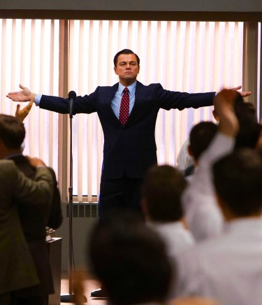 Leonardo DiCaprio as Jordan Belfort in The Wolf of Wall Street (2013).