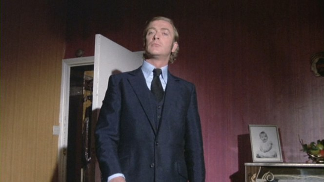 Carter's mohair suit shines under certain light.