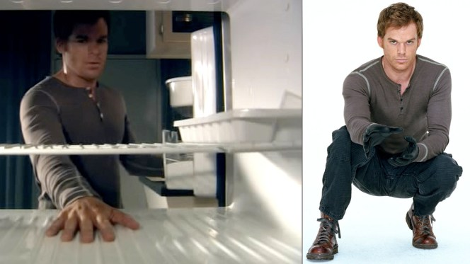 Dex was still wearing a different, exposed-seam shirt by the second episode but it had white buttons to match the later shirts. The image used in the promotional still features a different outfit than the one seen on the show.