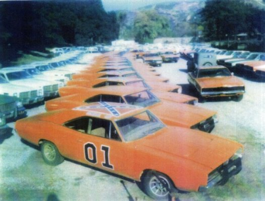 A Warner Brothers backlot in the early '80s. Note the mix of '69 and '68 Chargers that haven't been modified yet as well as the countless patrol cars that will meet the same inevitable fate.