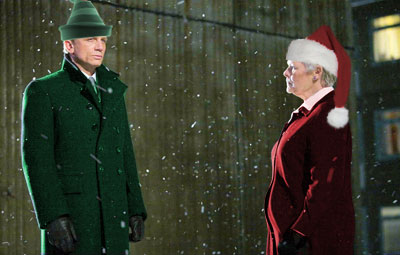 This clever (but sadly uncredited) photoshop job is perfect for a discussion of Bond and M's Christmas celebration.