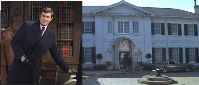 Most details about the car coat come from the following sequence when Bond wears it during his visit to SIr Hilary Bray.