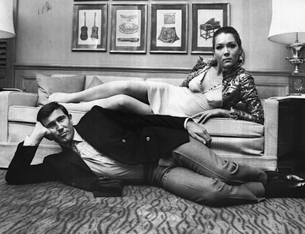 Lazenby and Rigg in 1968. This blazer appears to be a 4x2 rather than the 6x3 seen in the movie.
