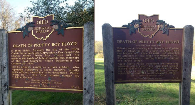Previous visitors to the site paid Floyd the ultimate tribute by firing bullets through the roadside sign.