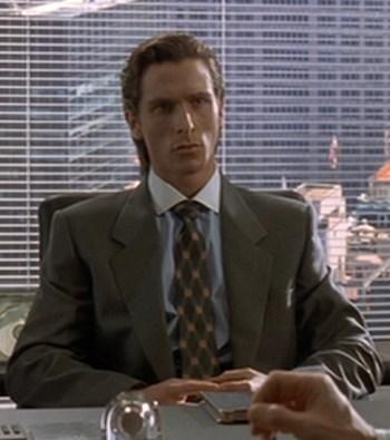 Christian Bale as Patrick Bateman in American Psycho (2000).
