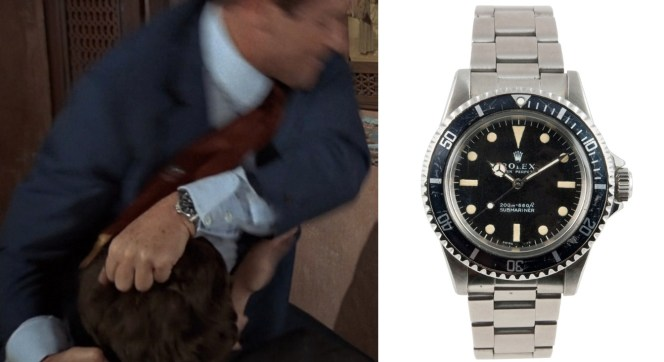 Bond's Rolex Sub is revealed during the brawl (left). A similar Submariner 5513 from 1966 (right).