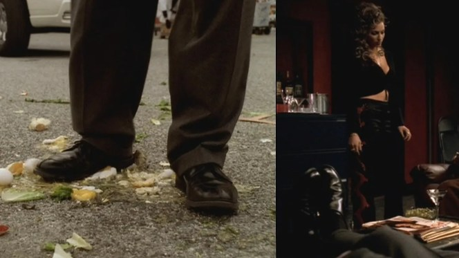 """Tony's bluchers as seen in """"All Due Respect"""" (5.13) and monk shoes in """"Mergers and Acquisitions"""" (4.08). Safe to assume that both are Allen Edmonds shoes."""