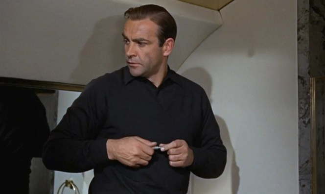 Bond finds himself aboard Goldfinger's personal plane.