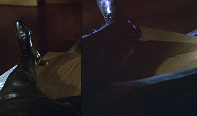 Bond's shoes would be the only clothing left intact after Goldfinger's laser has its way with him.