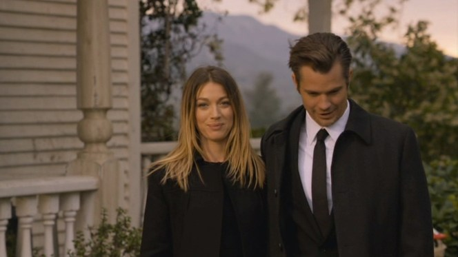 """Raylan shares a moment with Winona in """"Reckoning"""" (Episode 2.12) after saying goodbye to a family member."""