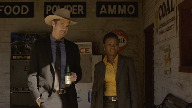 Raylan enjoys some of Kentucky's finest... at least their finest non-bourbon offering.
