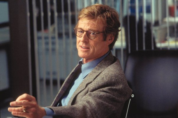 A production photo of Robert Redford offers the best lighting for deciphering his tie.