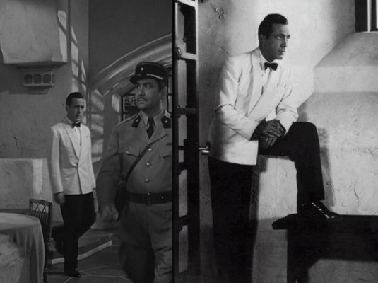 Bogie strikes a Captain Morgan pose... perhaps not realizing that he would, in fact, be playing a Captain Morgan in To Have and Have Not two years later.