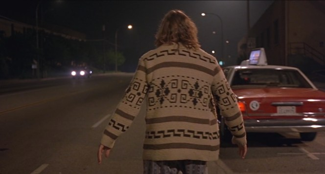 The Cowichan knit pattern is best seen while The Dude is aimlessly wandering the streets of Malibu, a beach community where he will soon be unwelcome.