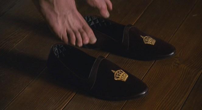 Albert puts on his Albert slippers.