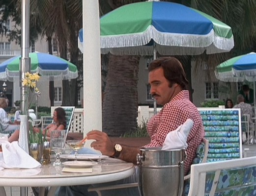 Chilled champagne and patio umbrellas... this ain't the Gator McKlusky we knew in White Lightning.