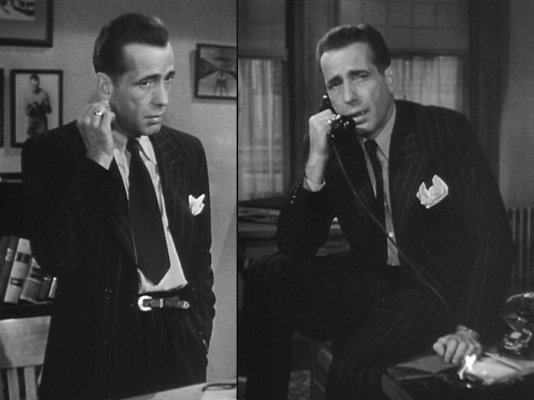 Supposedly, Bogart's ear-tugging was a real-life nervous tic that he worked into the Marlowe character.
