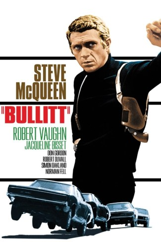 The original theatrical poster for Bullitt, which prominently features his holstered Colt Diamondback.
