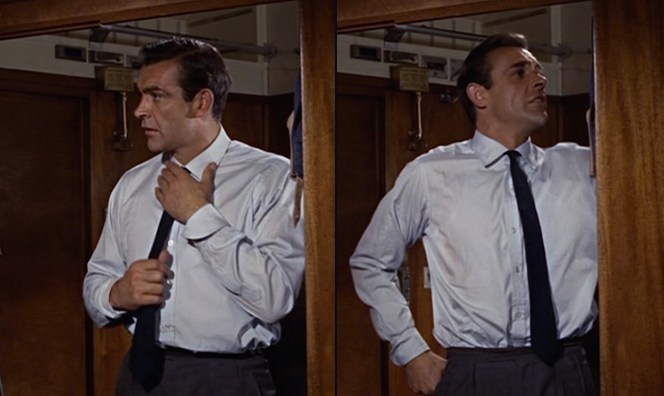 Tatiana must have been very surprised to open Bond's suitcase and find a week's worth of identical shirts. (At least she didn't try to open his attaché case!)