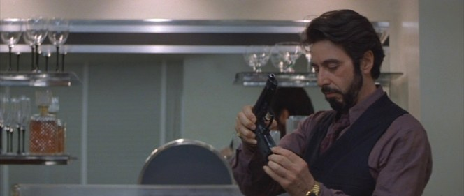 Carlito shows an impressive familiarity with a firearm that won't even be developed for another ten years.