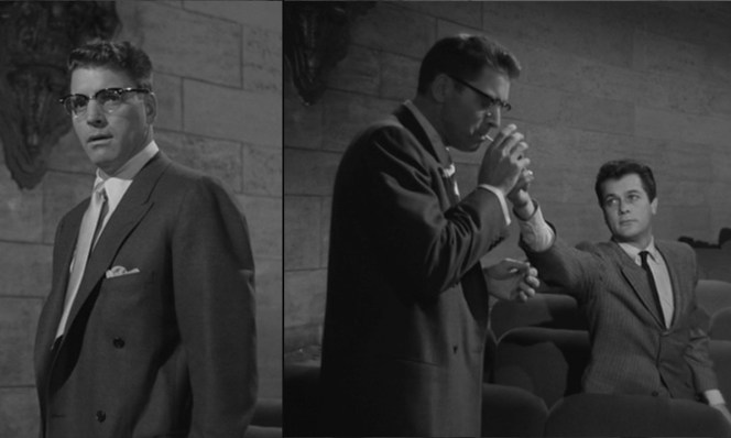 Press agent Sidney Falco (Tony Curtis) is never far away if J.J. needs anything, be it reassurance or a match for his cigarette.