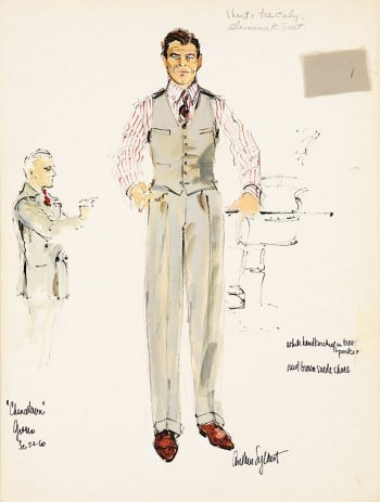 Anthea Sylbert's original concept sketches of Gittes' suit, revealing the details of the vest and trousers as they would be incorporated into the final product.
