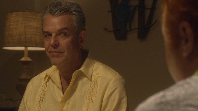 "Ben's fancy-stitched yellow pocketless guayabera makes its first appearance in ""Crossroads"" (episode 2.04)."