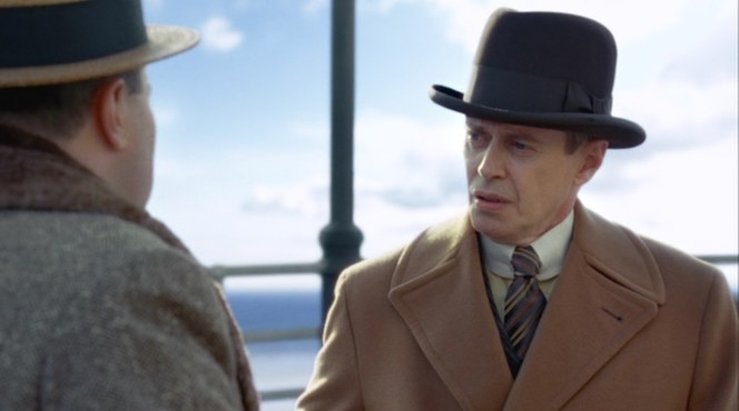 "Nucky is perplexed by his meeting with the obnoxious George Baxter in ""The Ivory Tower"" (episode 1.02)."