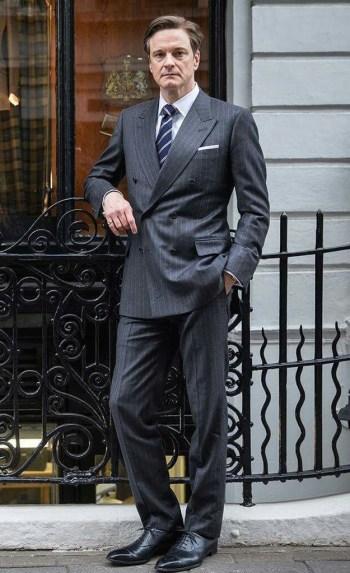 "Colin Firth as Harry Hart, aka ""Galahad"", sans glasses on the set of Kingsman: The Secret Service (2014)"