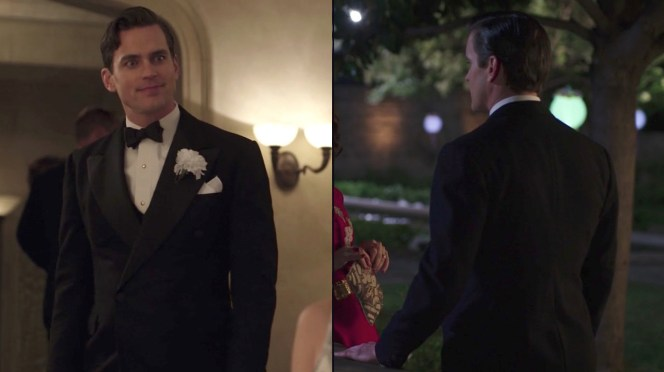 """(Left) A party in """"Eine Kleine Reichmusik"""" (episode 5) calls for a white boutonnière. (Right) Monroe cuts a dashing figure on the evening of his engagement party in """"Oscar, Oscar, Oscar"""" (episode 9)."""