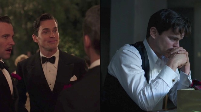 """Monroe's white """"semi-formal"""" shirt in various states of dress in """"A Brady-American Christmas"""" (Episode 6)."""