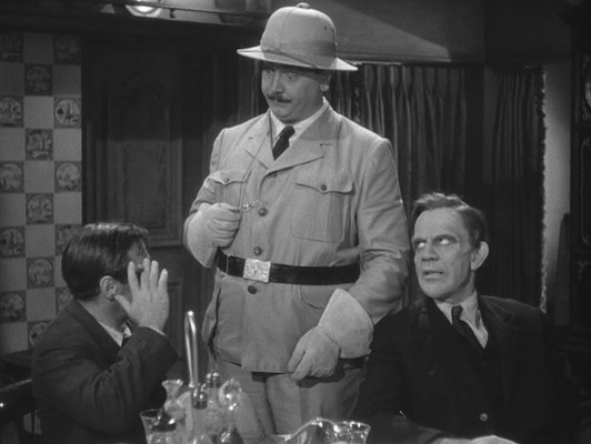 """Decked out in his """"colonial costume"""" (as the script refers to it), Teddy checks in with """"General Goethals"""", aka Dr. Einstein (Peter Lorre)."""