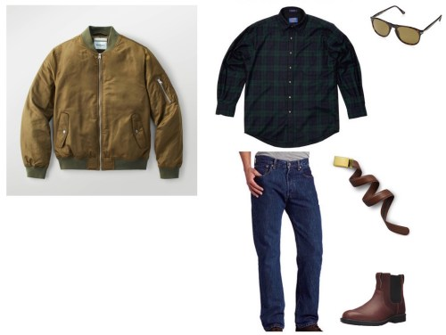 Clockwise from top left: Goodfellow & Co. bomber jacket, Pendleton blackwatch tartan plaid wool shirt, Persol sunglasses, Mission belt, Timberland boots, and Levi's 501 jeans.