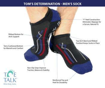 """Explore the """"sockology"""" of Toe Talk's new grip socks for men."""