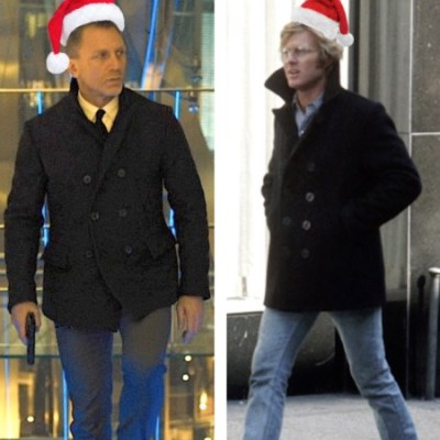 Left: Daniel Craig wears a Billy Reid peacoat in Skyfall. Right: Robert Redford in Three Days of the Condor.