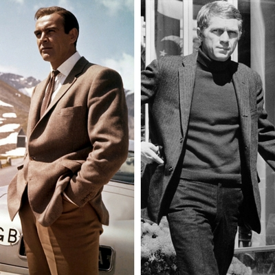 Right: Steve McQueen wears a brown herringbone tweed 3/2-roll shooting jacket.