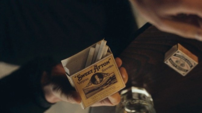 The herbal cigarettes smoked by Cillian Murphy can be seen in this vintage-styled reproduction of the Sweet Aftons pack. Tommy's preferred Morelands safety matches are on the table in the background.