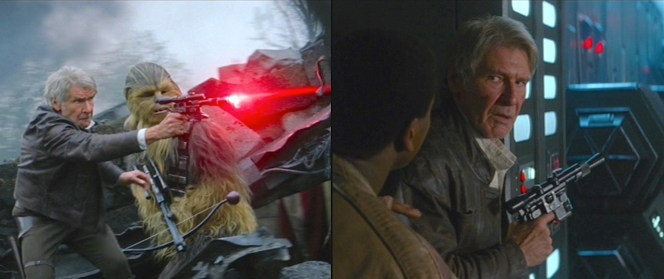Han with his DL-44 blaster... both in battle and preparing for it.
