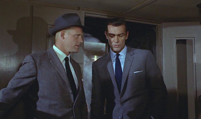 A tale of two agents: Grant, as Captain Nash, makes contact with 007.