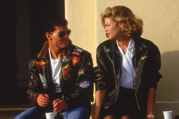 Tom Cruise and Kelly McGillis during production of Top Gun (1986).