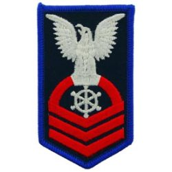 A full-color version of the insignia that Jefferson Jones would wear as a Chief Petty Officer rank with a Quartermaster rating.